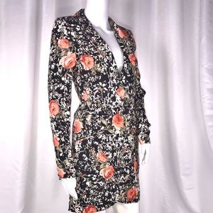 Blu Moon Black & Pink Rose Tuxedo Dress Sz XS